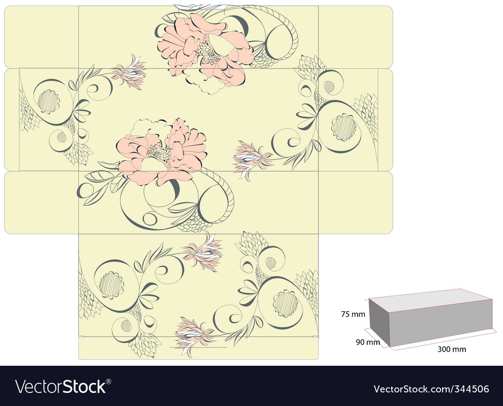 Vintage template for box design vector | Price: 1 Credit (USD $1)