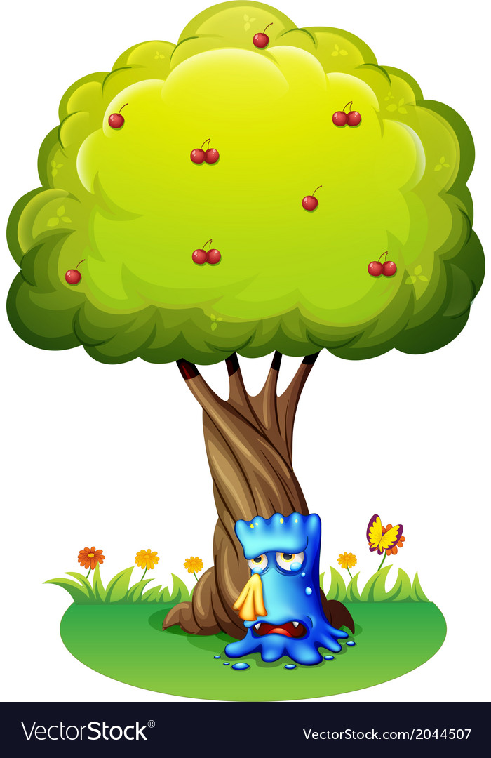 A blue monster sobbing under the tree vector | Price: 1 Credit (USD $1)