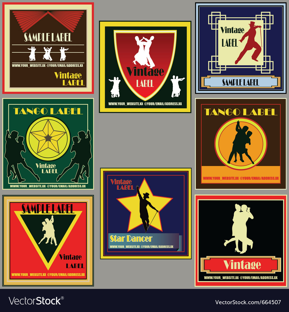 Dance vintage label set vector | Price: 1 Credit (USD $1)