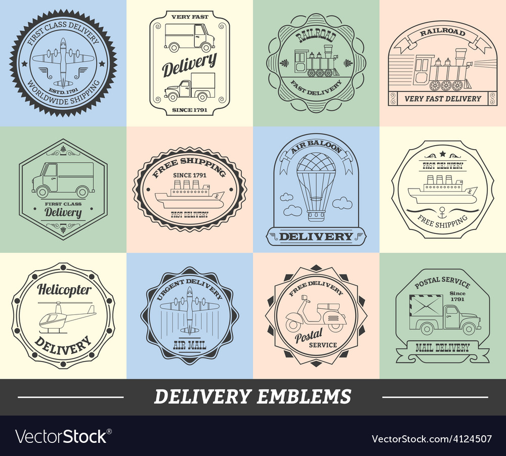 Delivery emblems set vector | Price: 1 Credit (USD $1)