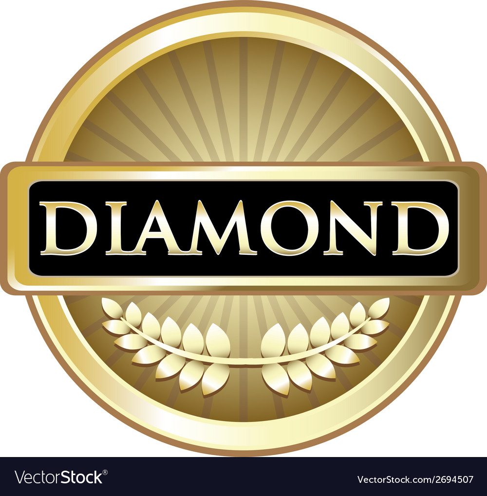 Diamond gold label vector | Price: 1 Credit (USD $1)