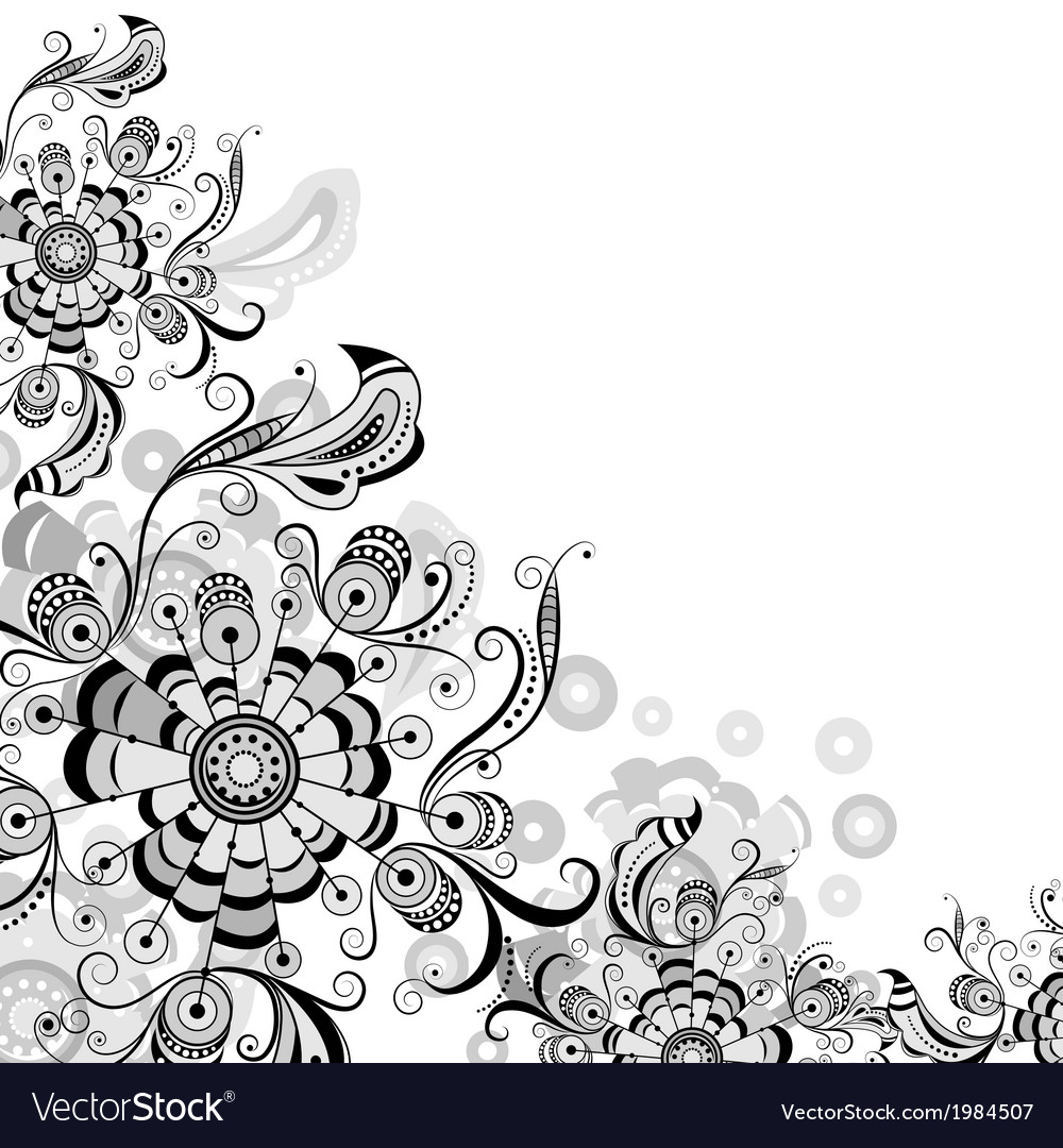 Floral abstract pattern in gray vector | Price: 1 Credit (USD $1)