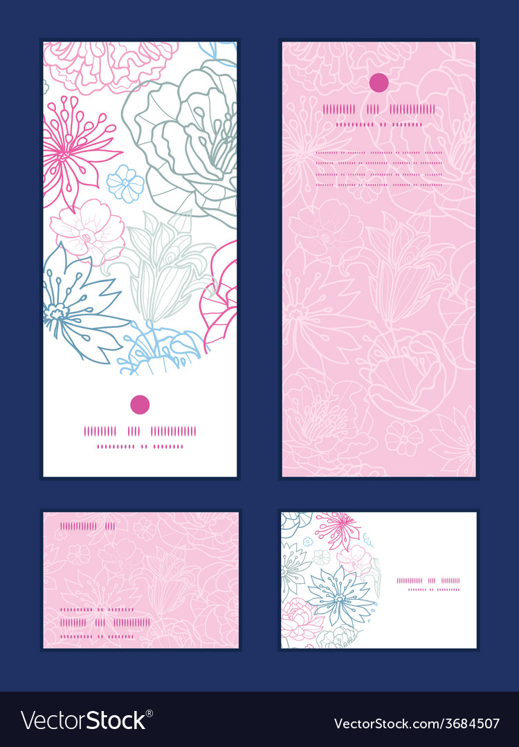 Gray and pink lineart florals vertical frame vector | Price: 1 Credit (USD $1)