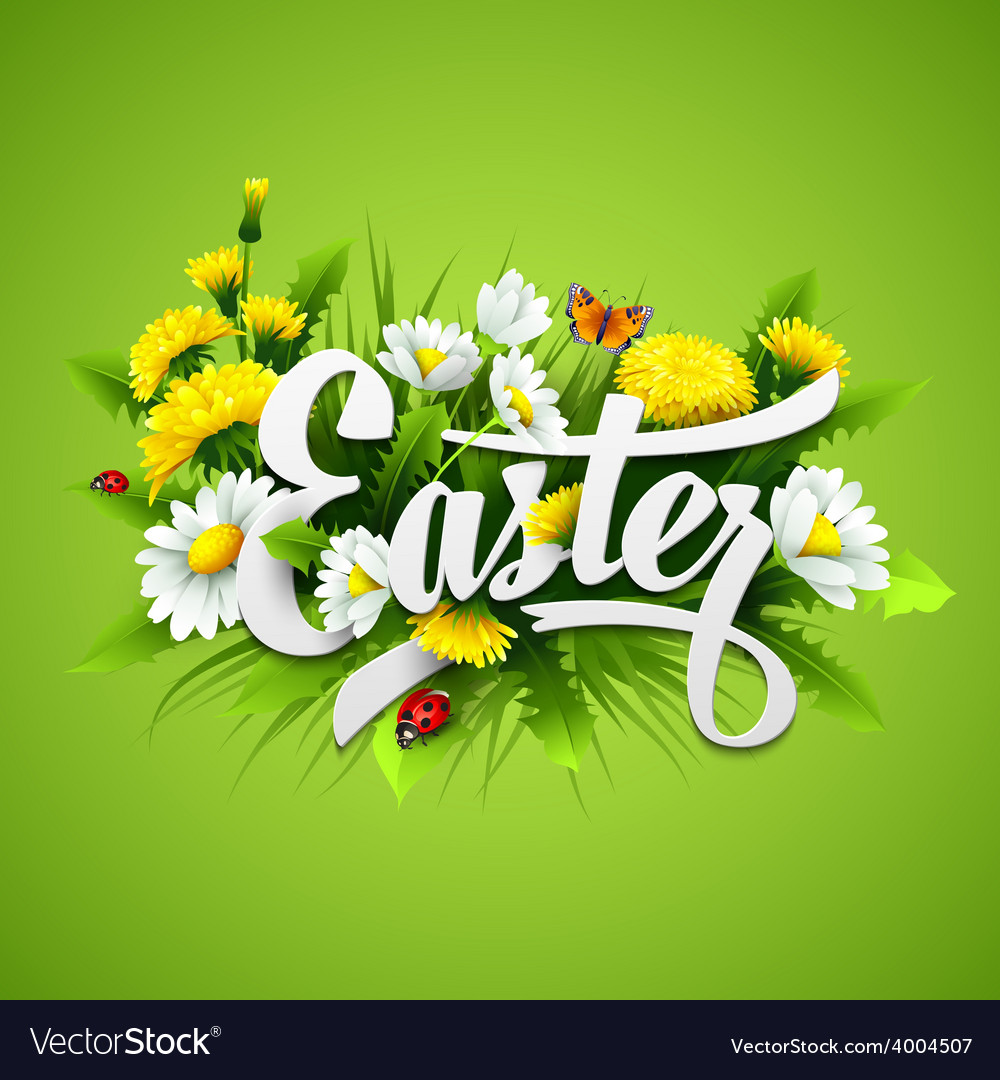 Title easter with spring flowers vector | Price: 3 Credit (USD $3)