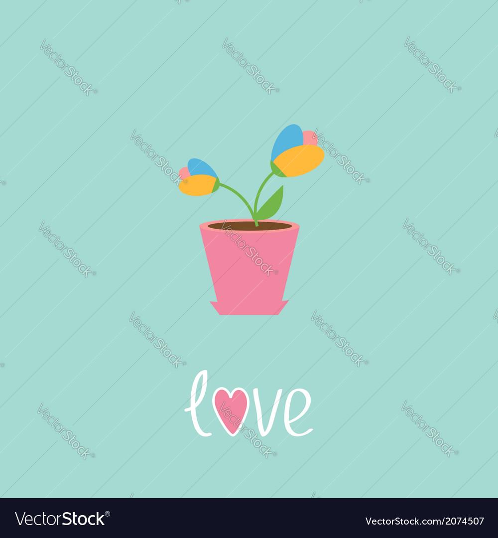 Tulip in pot love card vector | Price: 1 Credit (USD $1)