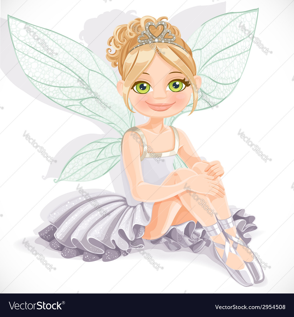 Beautiful fairy girl in white dress sit on floor vector   Price: 3 Credit (USD $3)