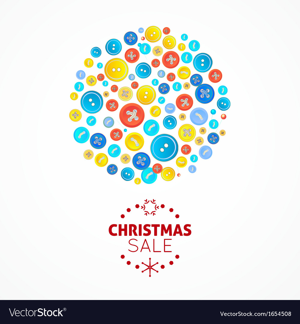 Christmas sale card with buttons ball vector | Price: 1 Credit (USD $1)