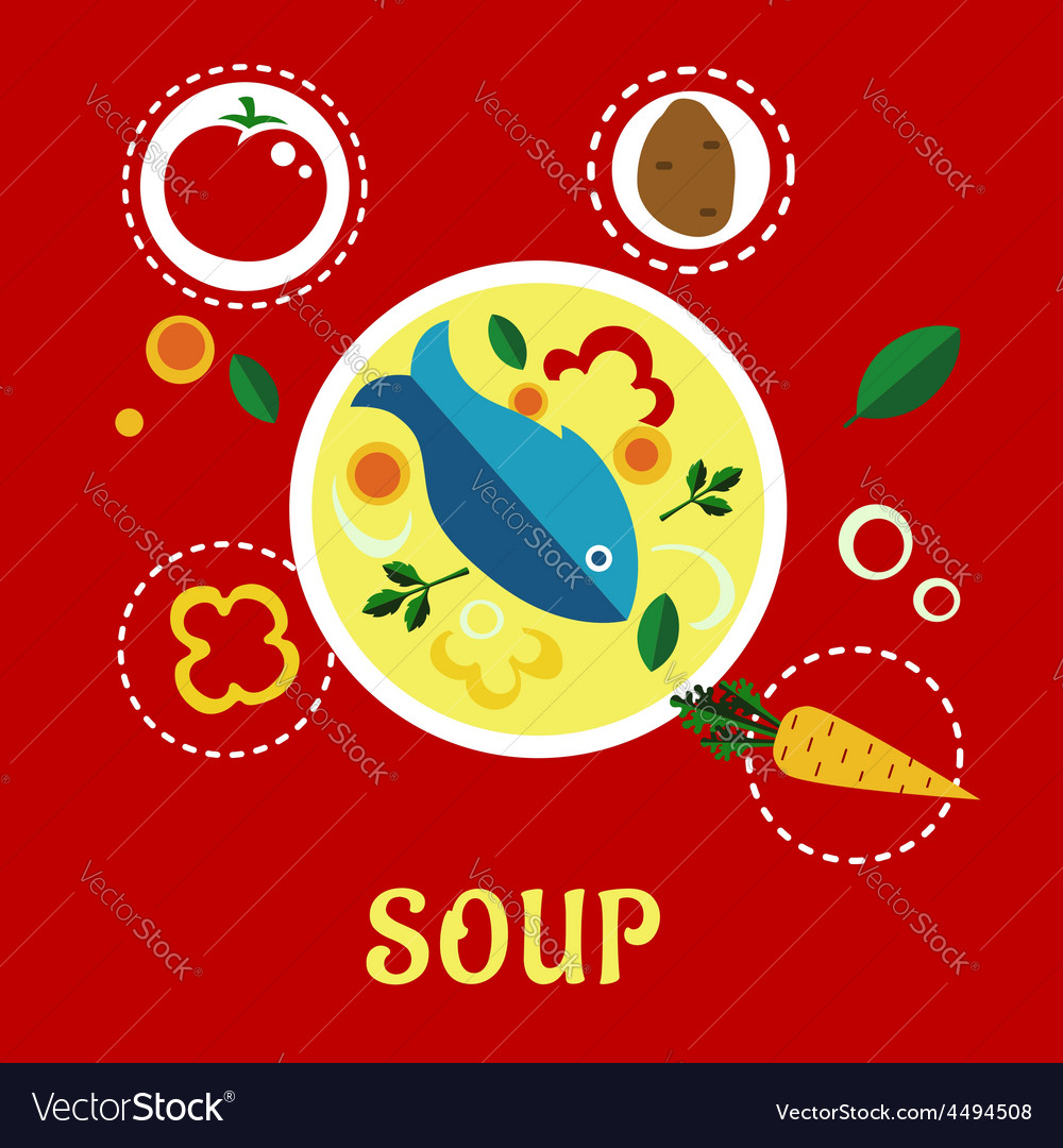 Cooking fish soup with sliced vegetables and herbs vector | Price: 1 Credit (USD $1)