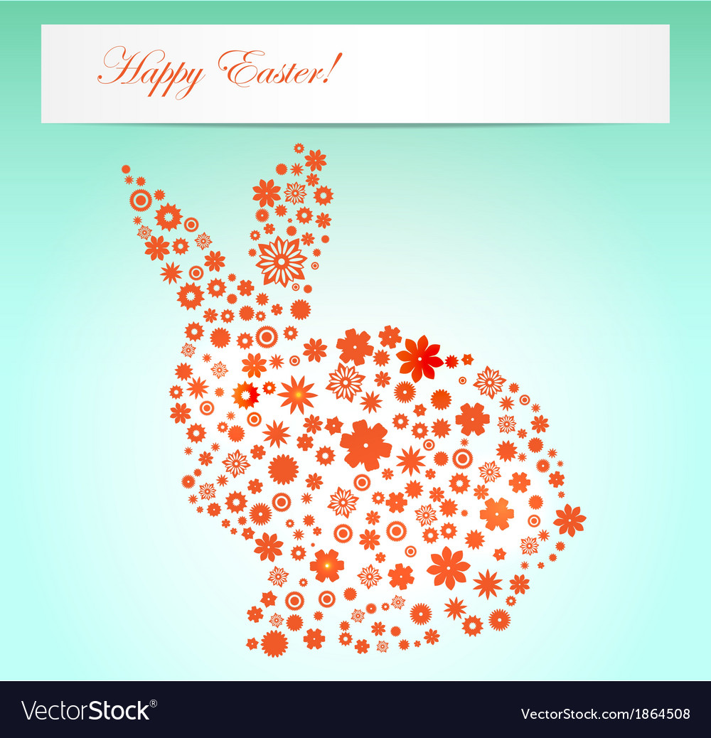 Easter  spring flowers rabbit shape vector | Price: 1 Credit (USD $1)