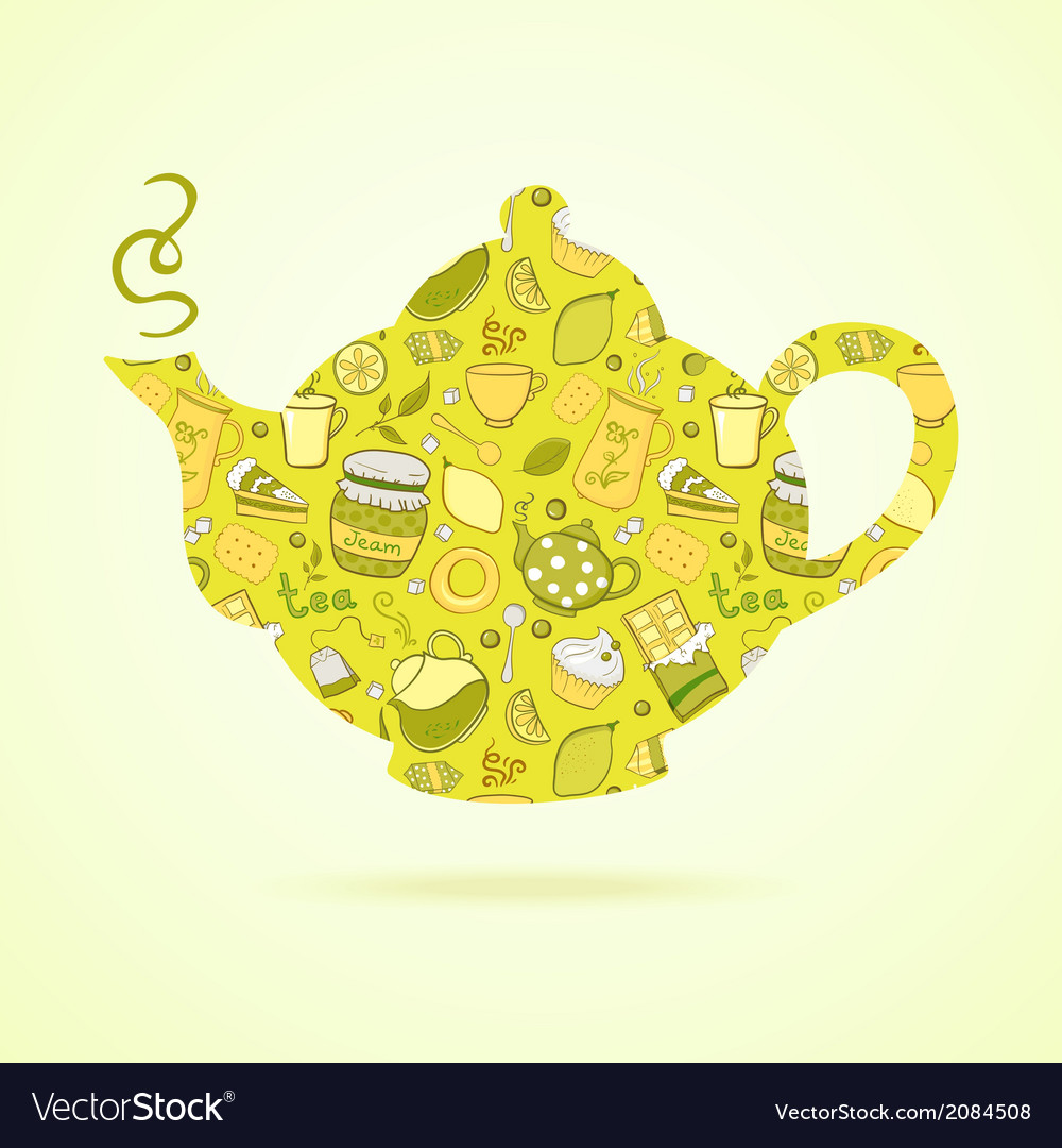 Kettle with tea pattern isolated background vector   Price: 1 Credit (USD $1)