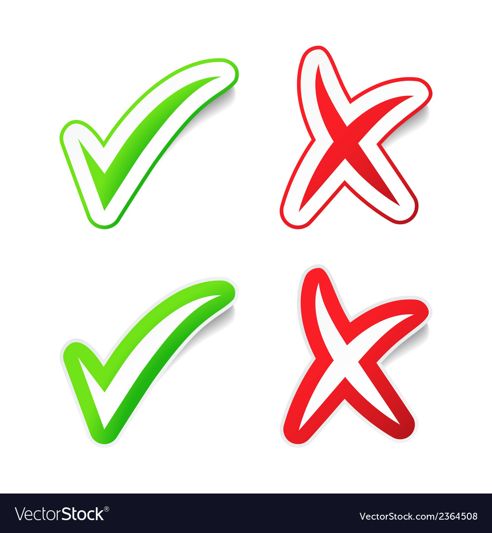 Yes no checmarks stickers vector | Price: 1 Credit (USD $1)