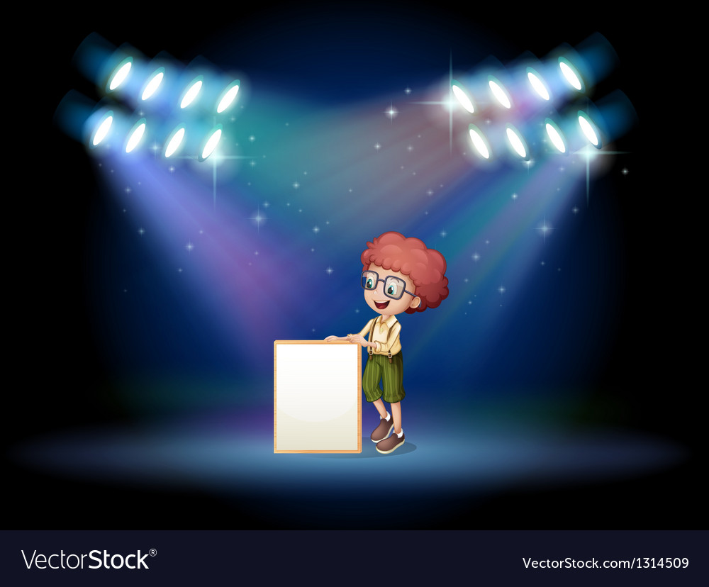 A boy holding an empty frame on the stage with vector | Price: 1 Credit (USD $1)