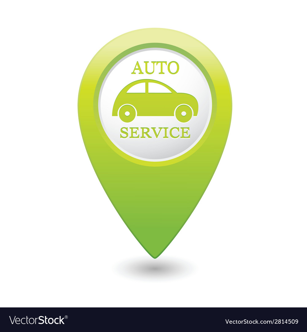 Auto service icon on green map pointer vector | Price: 1 Credit (USD $1)