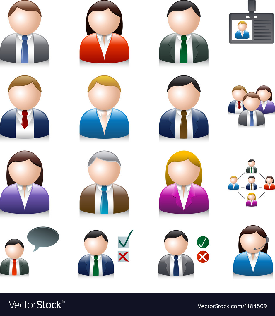 Business people avatar isolated on white vector | Price: 1 Credit (USD $1)
