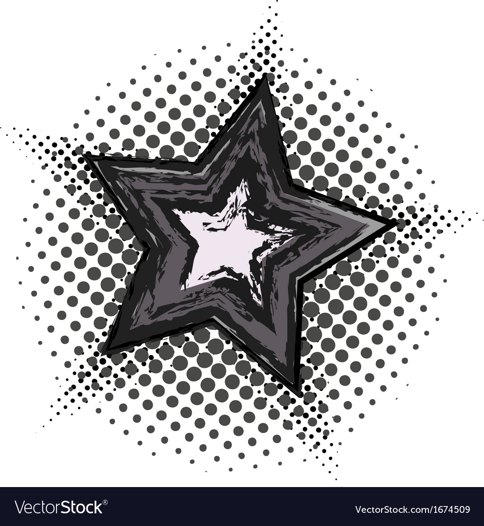 Grunge star with halftone pattern vector | Price: 1 Credit (USD $1)