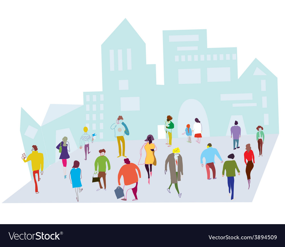 People in the city - crowd on the street vector | Price: 1 Credit (USD $1)