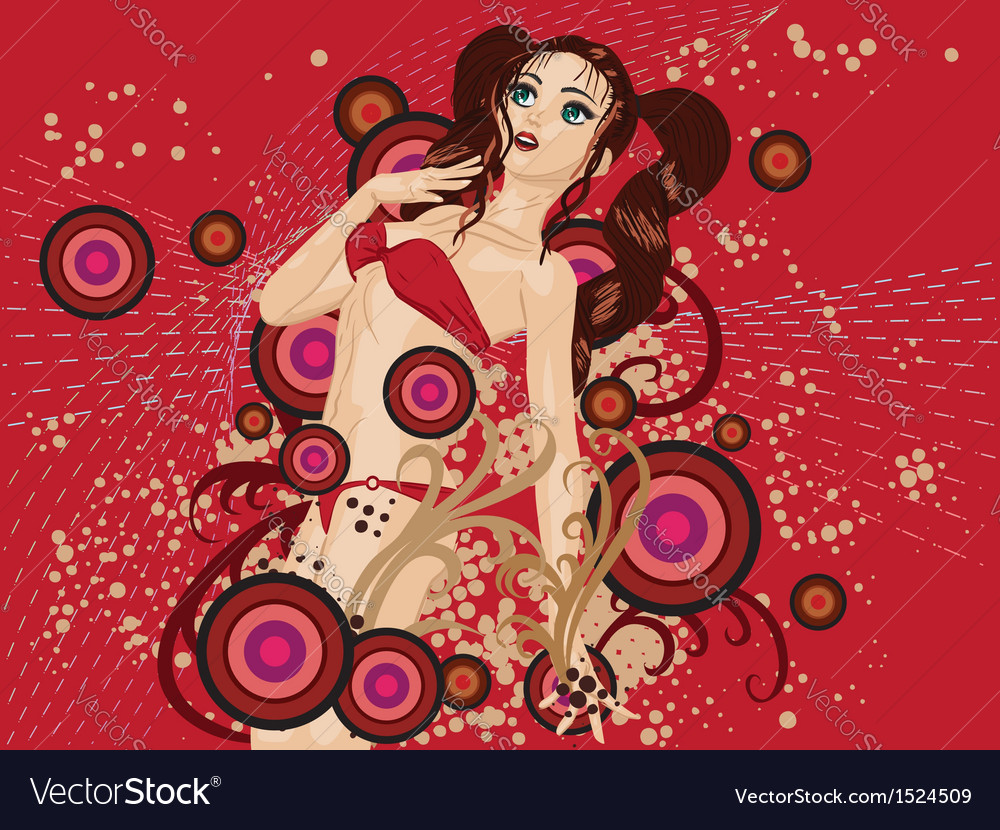 Red bikini girl on floral background vector | Price: 3 Credit (USD $3)