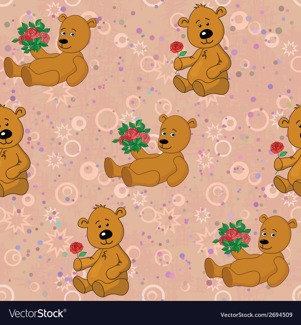 Seamless pattern teddy bears and gifts flowers vector | Price: 1 Credit (USD $1)