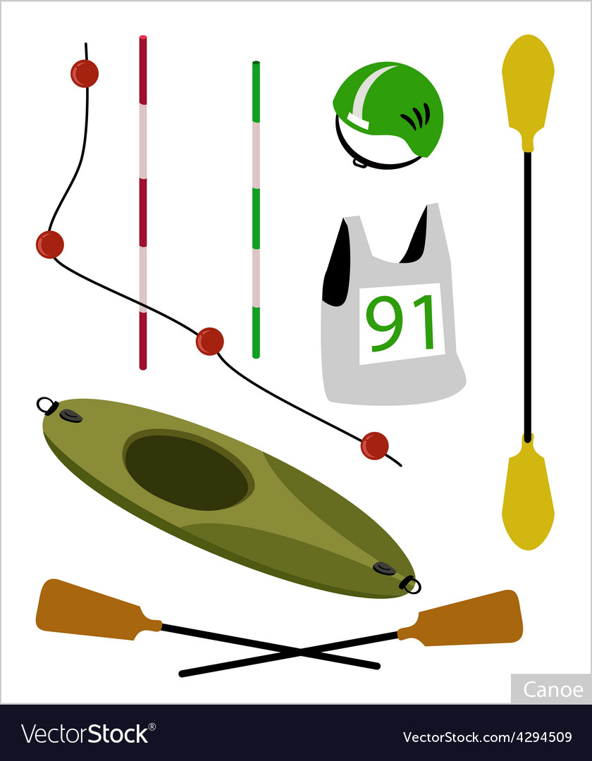 Set of canoe or kayak equipment on white vector | Price: 1 Credit (USD $1)