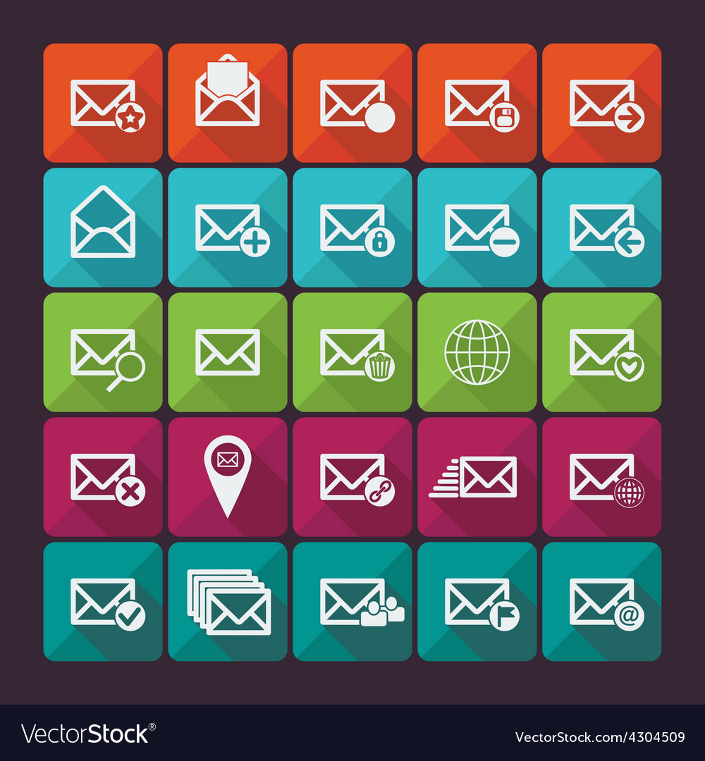 Set of twenty five flat mail icons vector | Price: 1 Credit (USD $1)