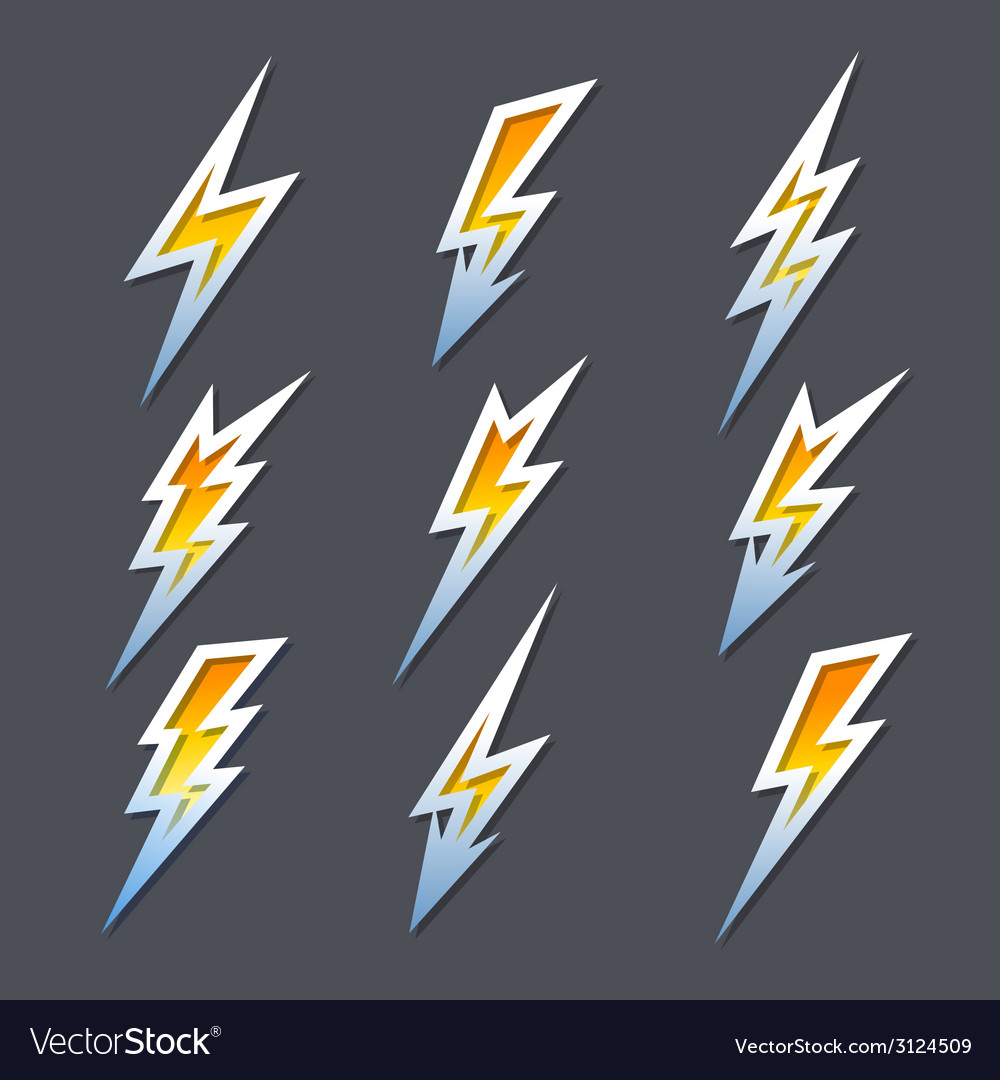 Set of zigzag lightning bolts or electricity icons vector | Price: 1 Credit (USD $1)