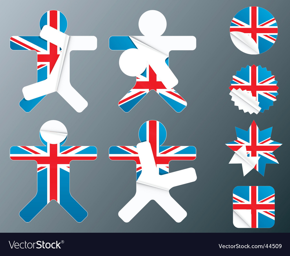 Uk collection of peeling stickers vector | Price: 1 Credit (USD $1)