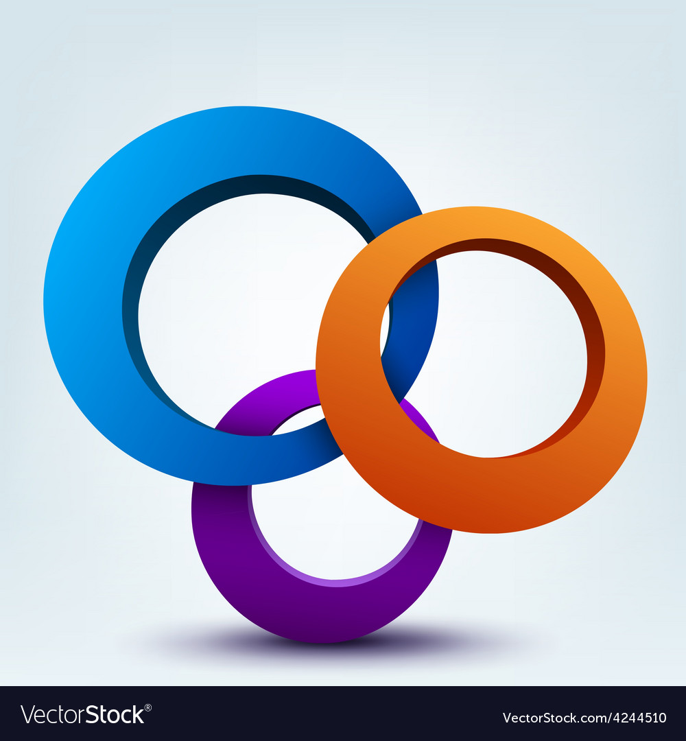 Abstract 3d of 3d rings vector | Price: 3 Credit (USD $3)