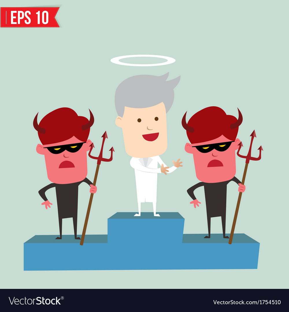 Angel and devil on winner podium - - eps10 vector | Price: 1 Credit (USD $1)