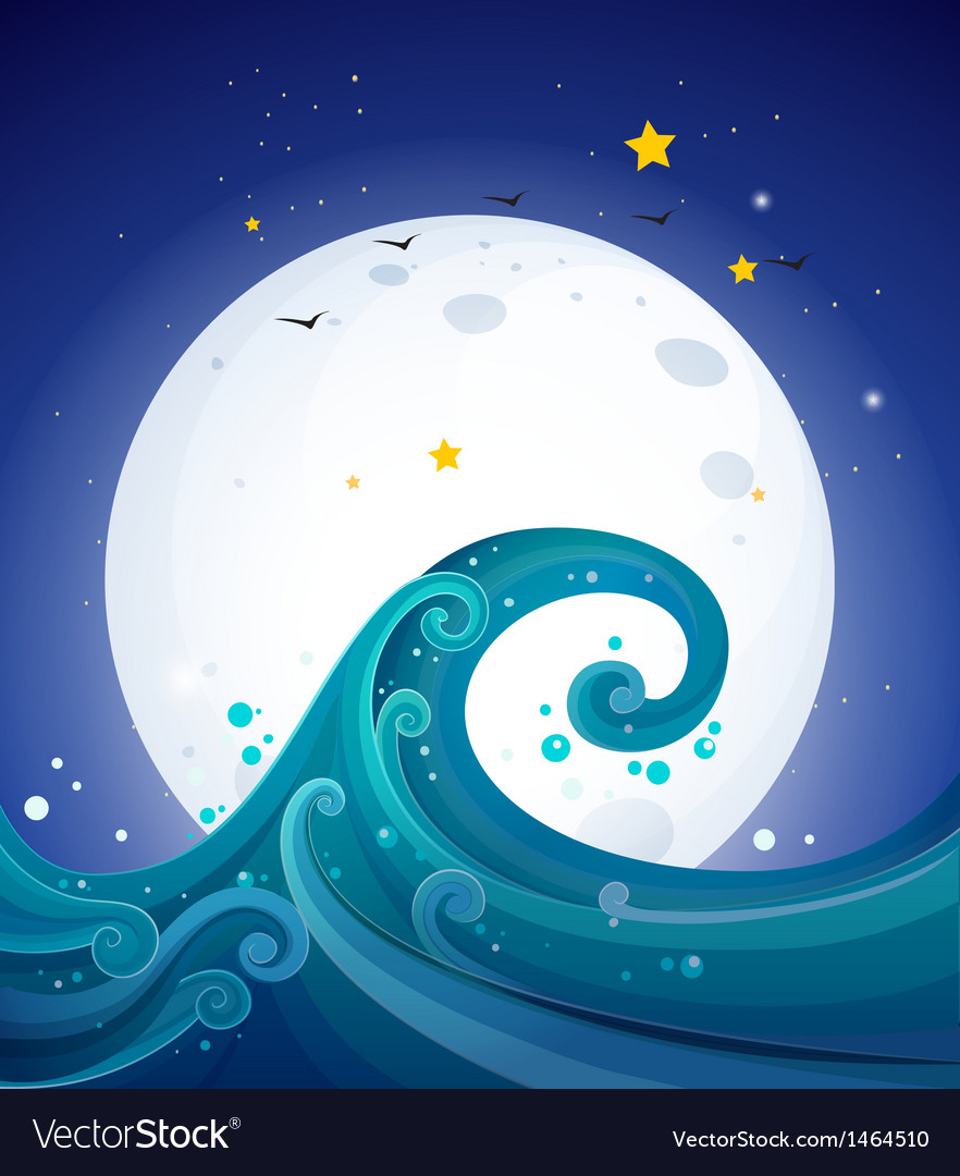 Big waves below the bright fullmoon vector | Price: 1 Credit (USD $1)
