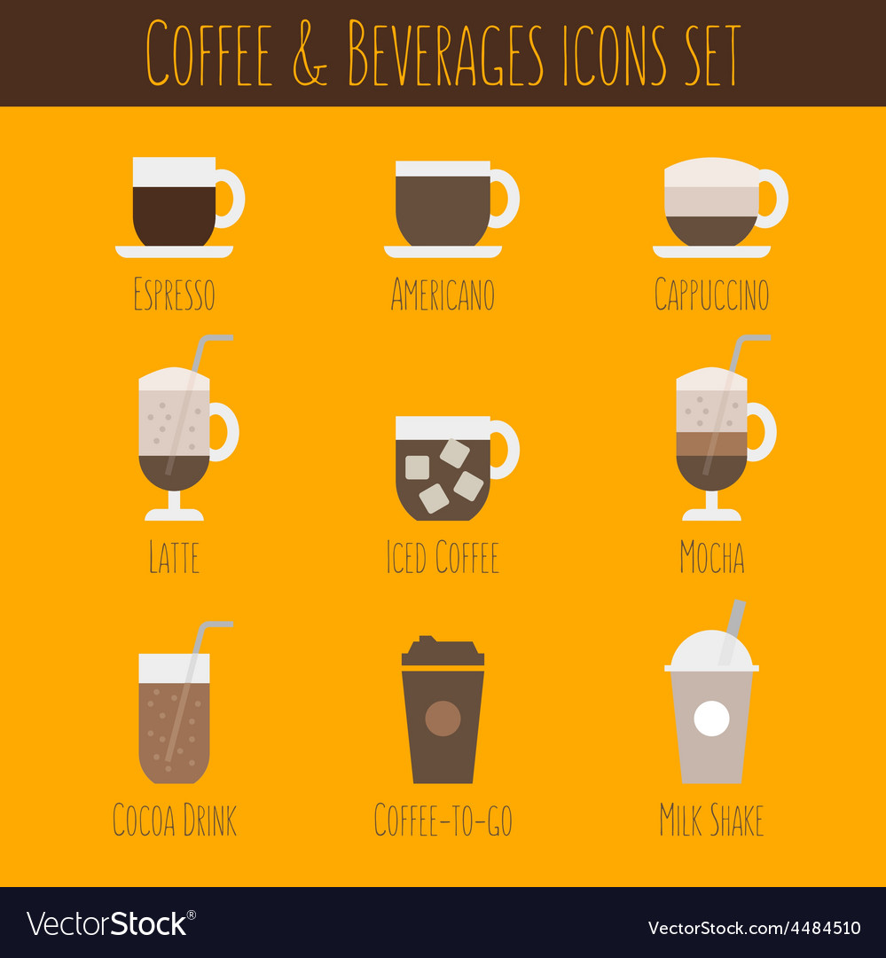 Coffee and beverages icons set vector | Price: 1 Credit (USD $1)