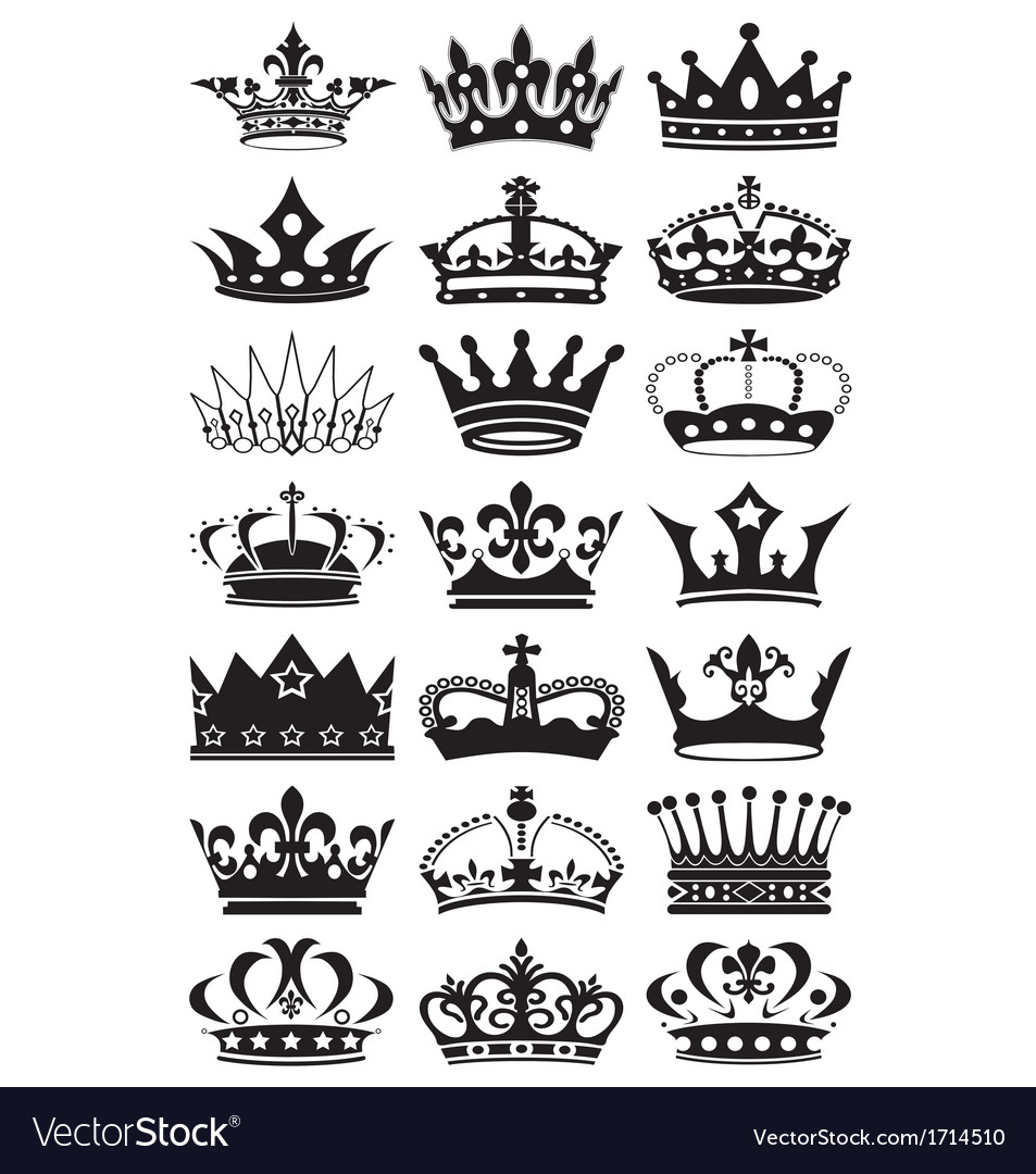 Crown silhouettes vector | Price: 1 Credit (USD $1)