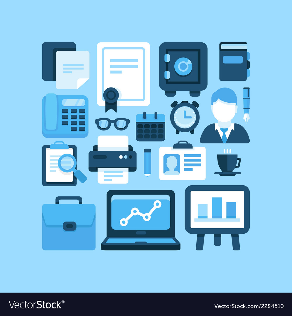 Flat office and business icons vector | Price: 1 Credit (USD $1)