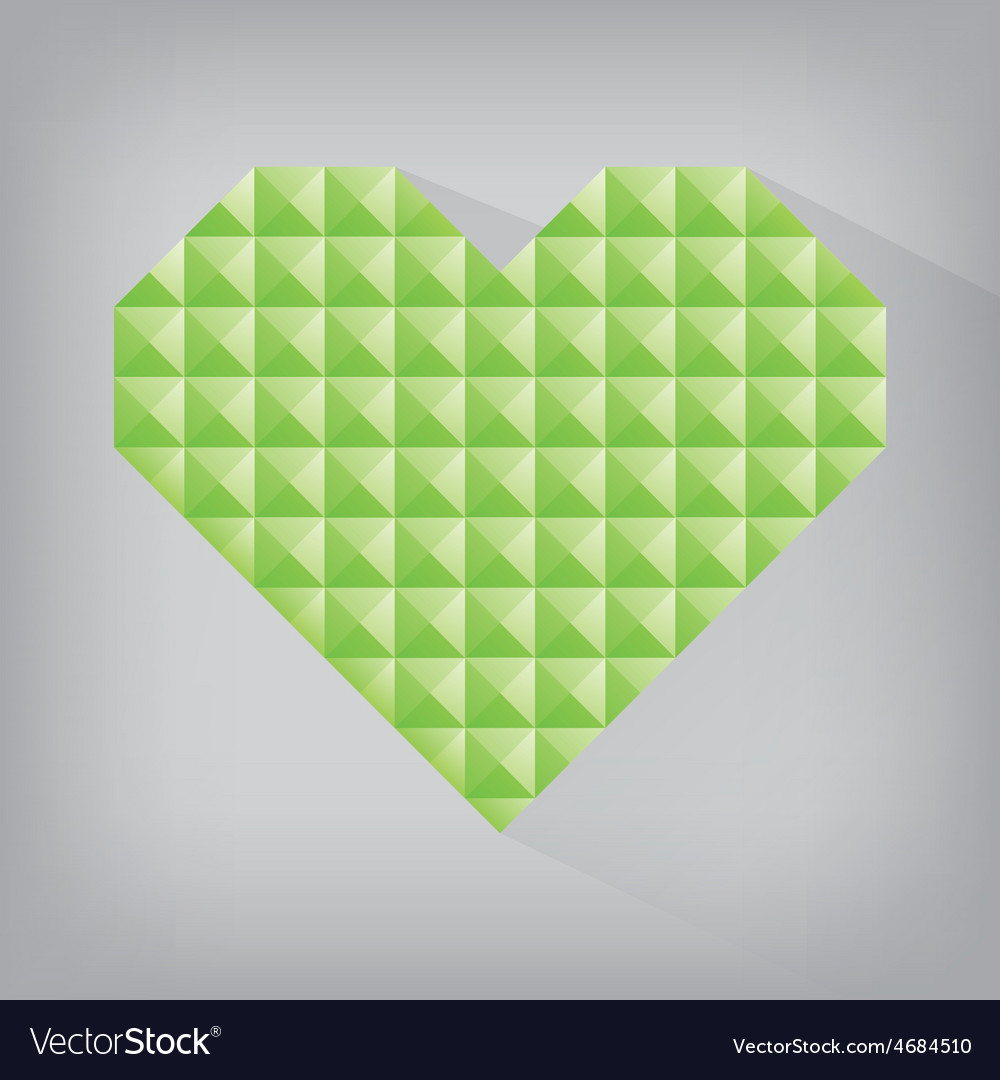 Green earth retro heart triangle abstract love vector | Price: 1 Credit (USD $1)