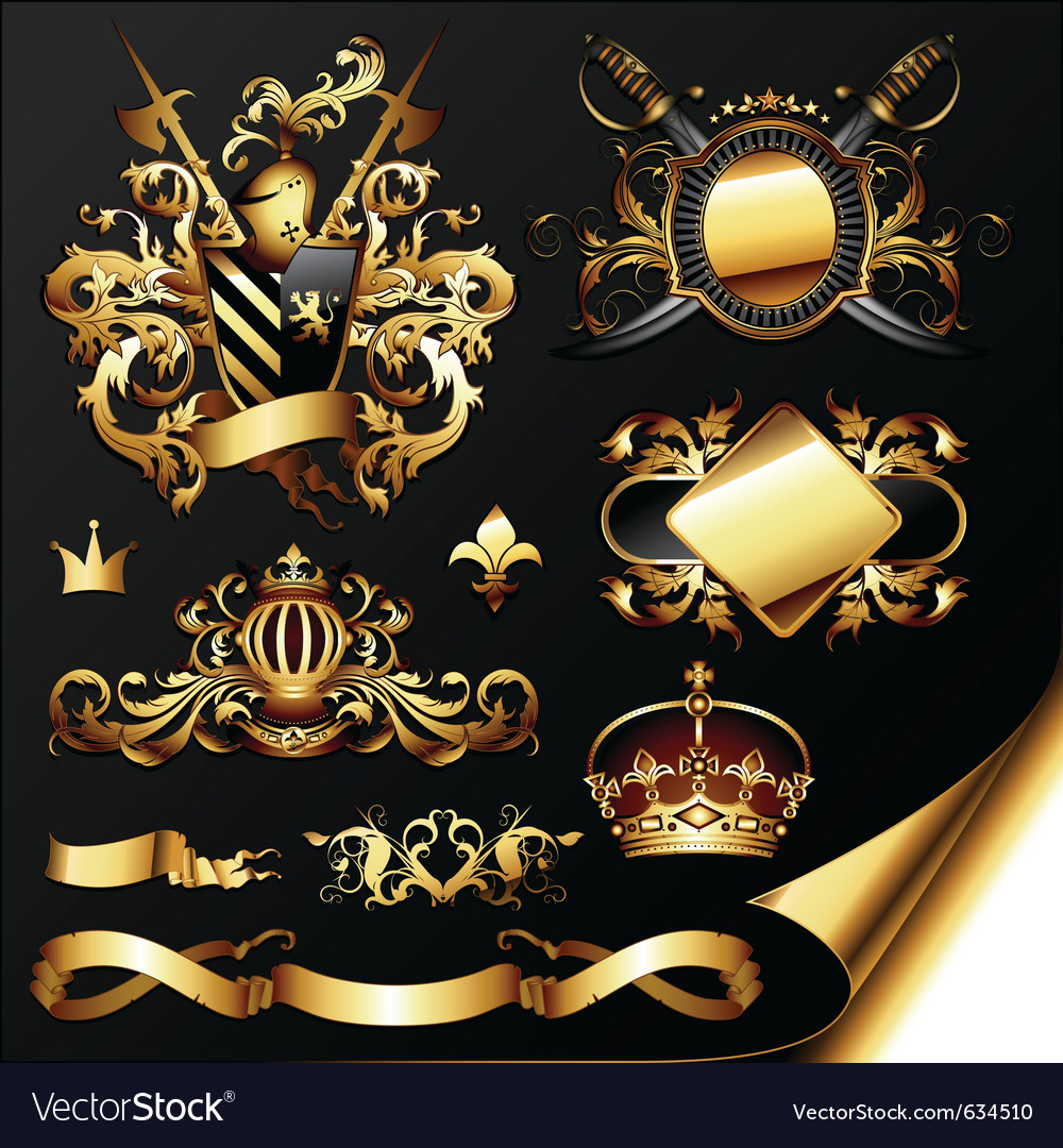 Ornamental heraldic elements vector | Price: 5 Credit (USD $5)