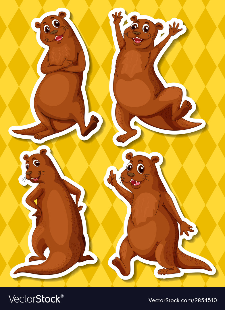 Otters vector | Price: 1 Credit (USD $1)