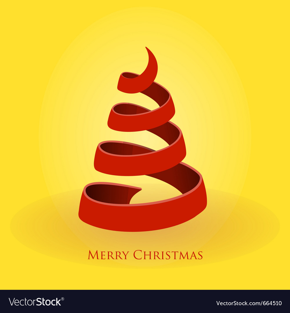 Red christmas tree on gold background vector | Price: 1 Credit (USD $1)