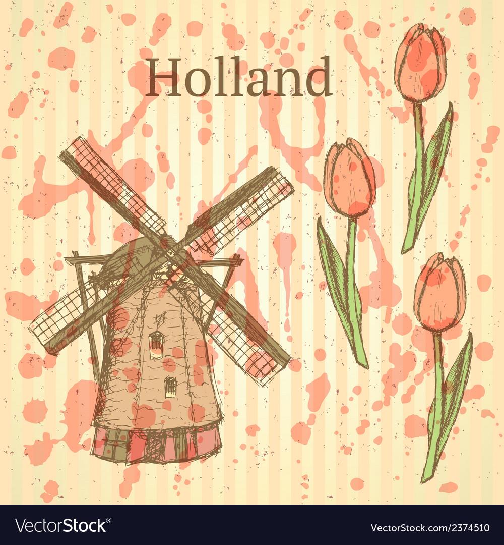 Tulipl windmill vector | Price: 1 Credit (USD $1)