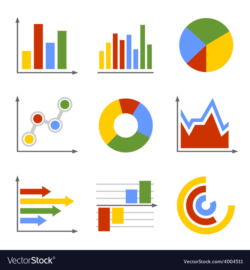 Color business graph and chart set vector | Price: 1 Credit (USD $1)