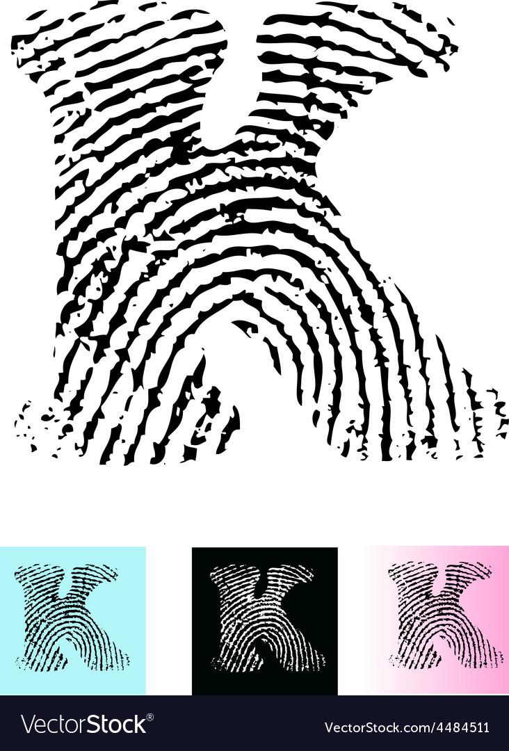 Fingerprint alphabet letter k vector | Price: 1 Credit (USD $1)
