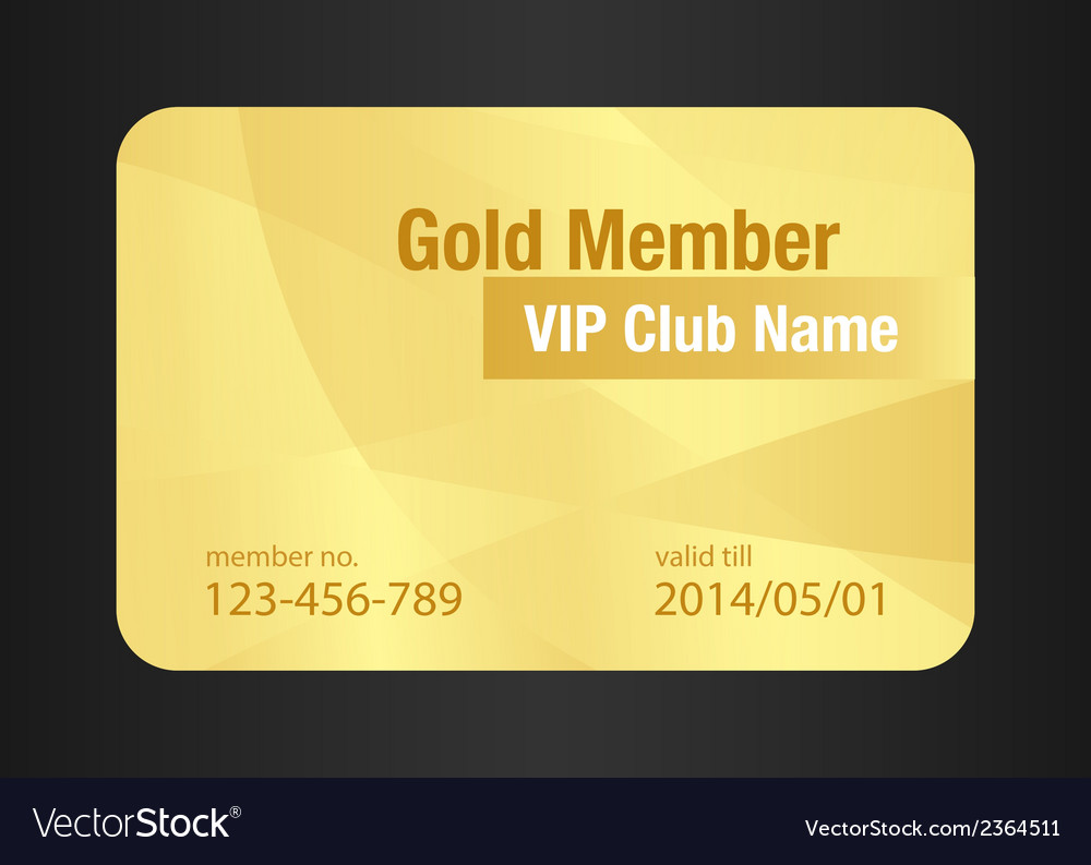 Gold vip club card vector | Price: 1 Credit (USD $1)
