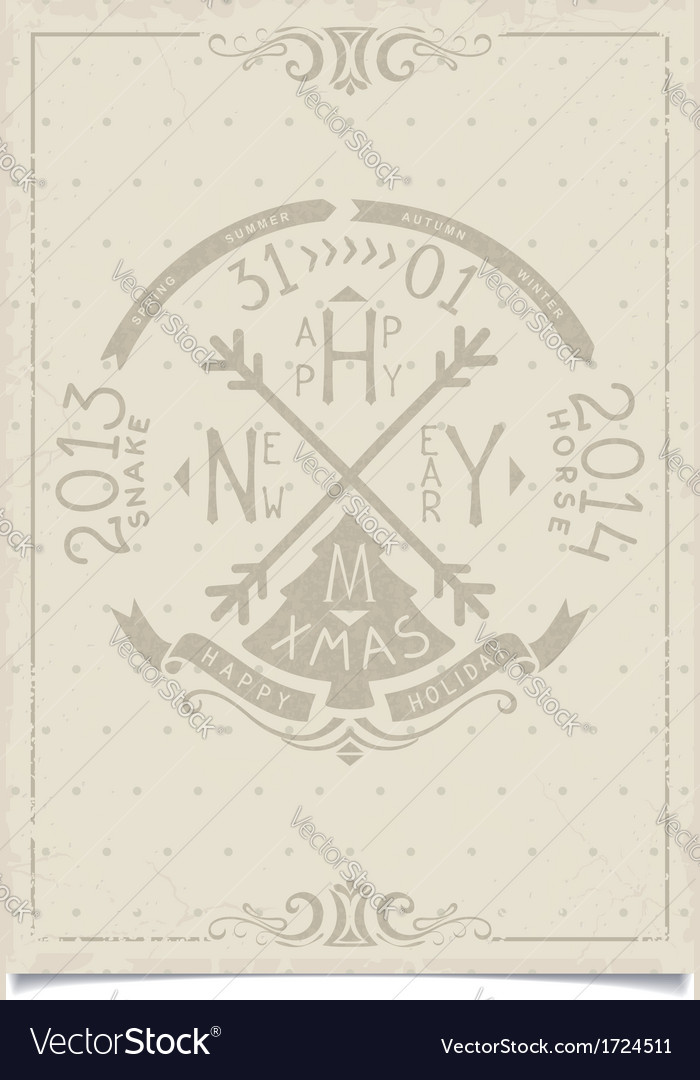 Happy new year vintage paper craft lettering vector | Price: 1 Credit (USD $1)