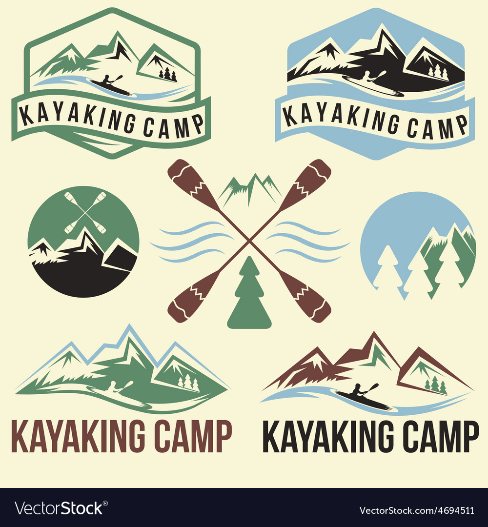 Kayaking camp vintage labels set vector | Price: 1 Credit (USD $1)