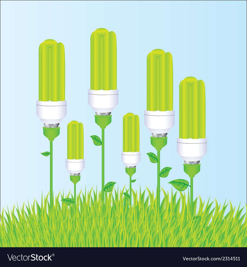 Planting of ecological bulb vector | Price: 1 Credit (USD $1)