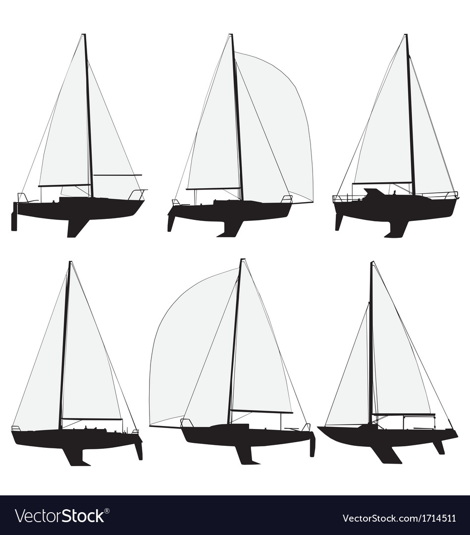 Sail boat silhouettes vector | Price: 1 Credit (USD $1)