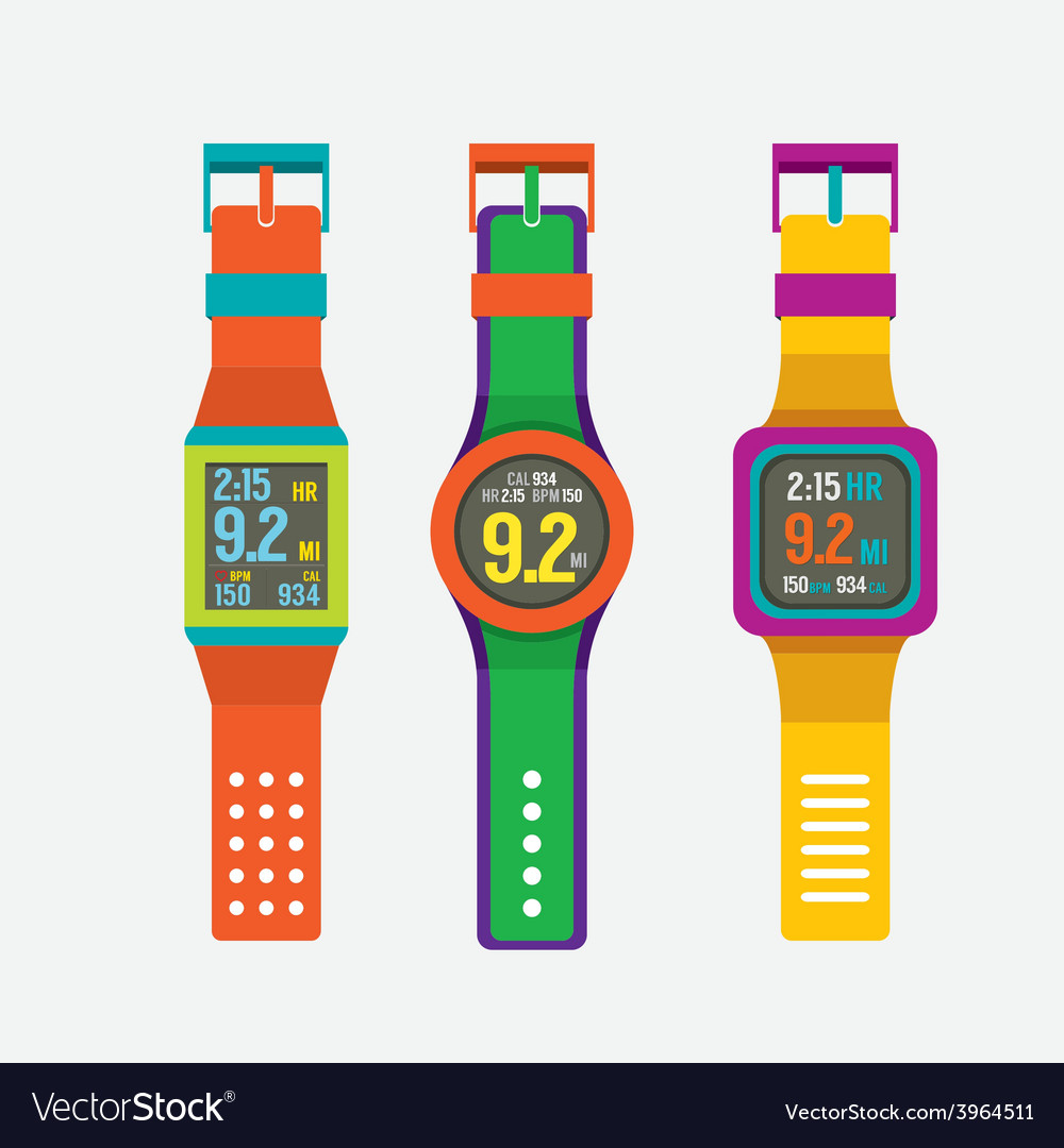Set of colorful sport watches vector | Price: 1 Credit (USD $1)