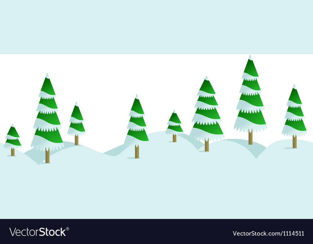 Snow winter forest in horizontal seamless border vector | Price: 1 Credit (USD $1)