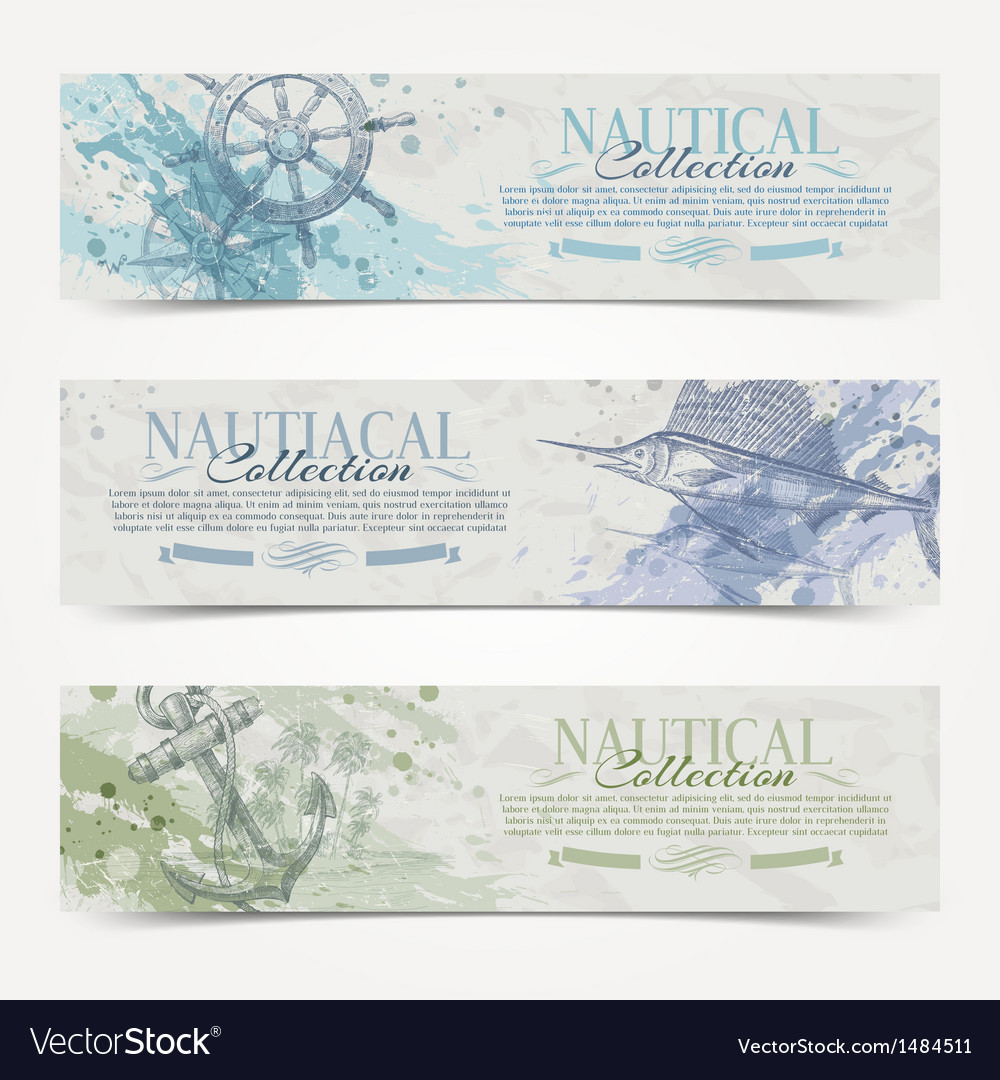 Travel and nautical vintage hand drawn banners vector | Price: 3 Credit (USD $3)