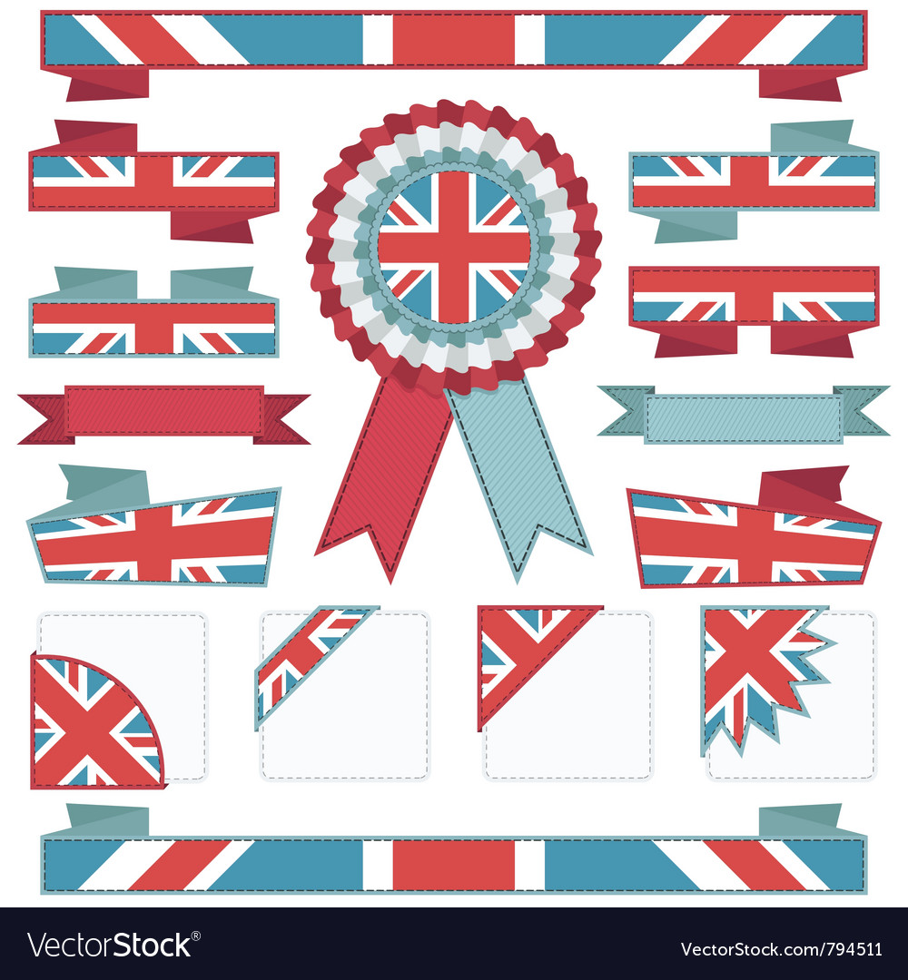 Uk stitched ribbons vector | Price: 1 Credit (USD $1)