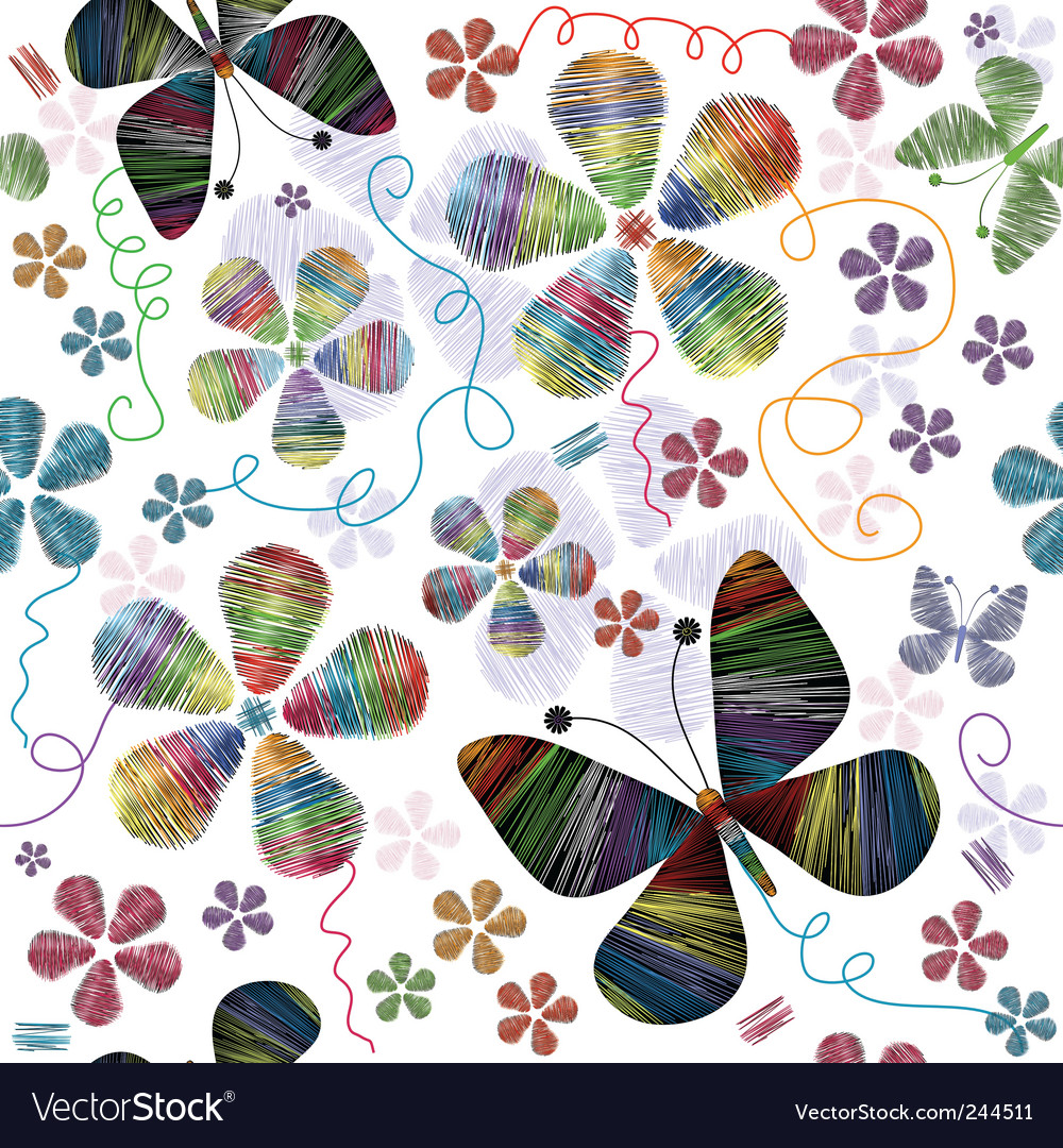 White seamless floral pattern vector | Price: 1 Credit (USD $1)
