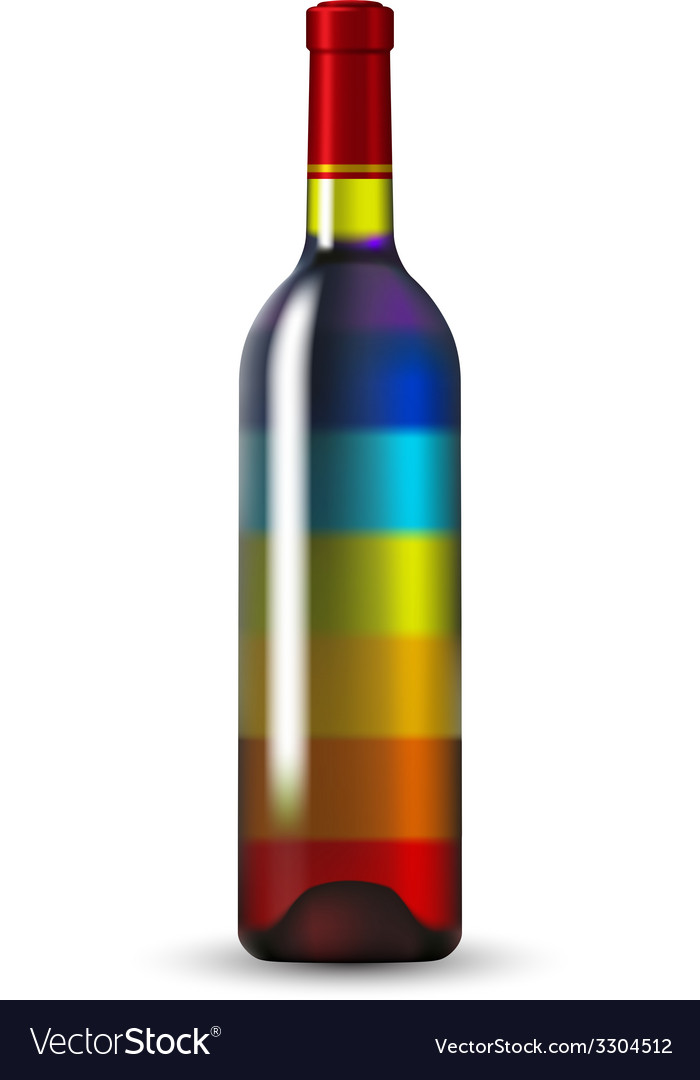 Color glass wine bottle vector | Price: 1 Credit (USD $1)